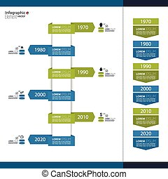 Timeline Infographic with arrows and pointers for earnings,...