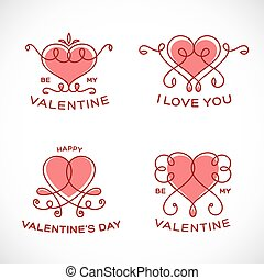 Graceful Floral Valentine Line Style Vector Heart Set...