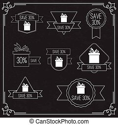 Gift stickers with discount offer Labels with advertising...