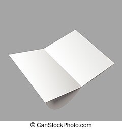 Open magazine - Lying blank two fold paper brochure on gray...