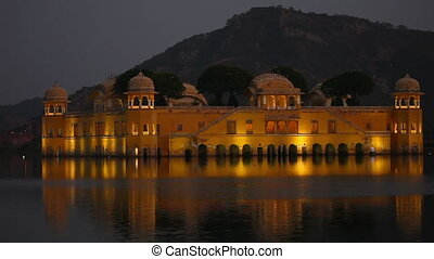 Jal Mahal - The palace Jal Mahal at dusk. Jal Mahal (Water...