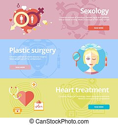 Set of flat design concepts for sexology, plastic surgery,...