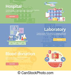 Set of flat design concepts for hospital, laboratory and blood donation. Medical concepts for web banners and print materials.