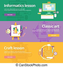 Set of flat design concepts for informatics, classic art, craft lessons. Education concepts for web banners and print materials.