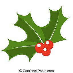 Holly berry Christmas symbol vector illustration