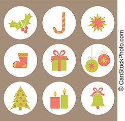 Christmas icons - Set of flat Christmas icons. Vector...