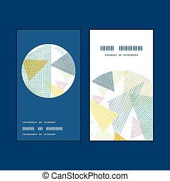 Vector abstract fabric triangles vertical round frame...