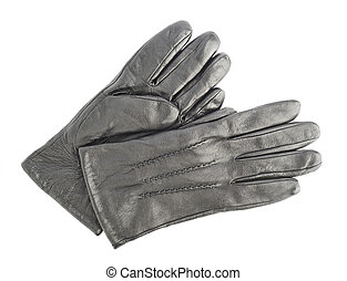 Crumpled leather gloves isolated - Two crumpled black...