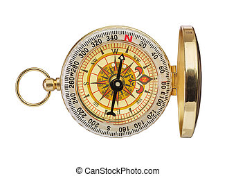 Retro brass compass isolated on white background