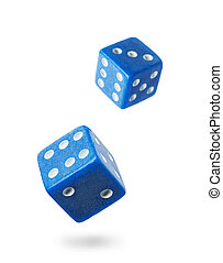 Two blue gambling dices falling down isolated on white Local...