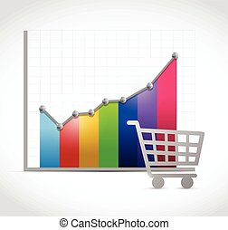 colorful shopping cart business graph