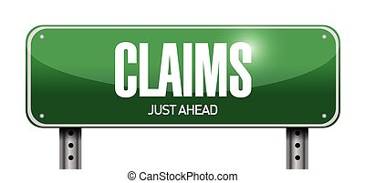 claims street sign illustration design over a white...