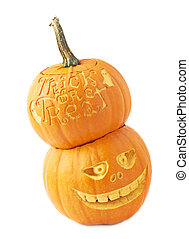 Two Halloween pumpkin composition isolated - Halloween...