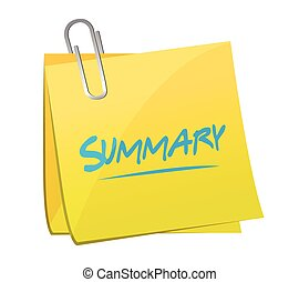 summary memo post illustration design over a white...