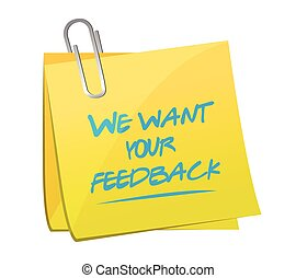 we want your feedback memo post illustration design over a...
