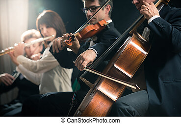 Classical music concert: symphony orchestra on stage -...