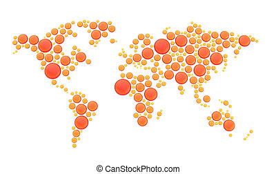 World map made of round shapes