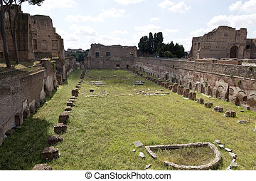 Palatine Hill Ruins - The Stadium of Domitian on the...