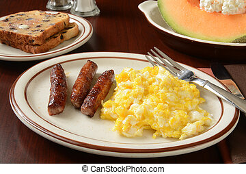 Suasage and eggs - Link sausage and scrambled eggs with...