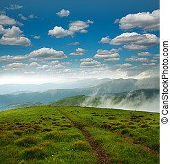 Mountains landscape on sky
