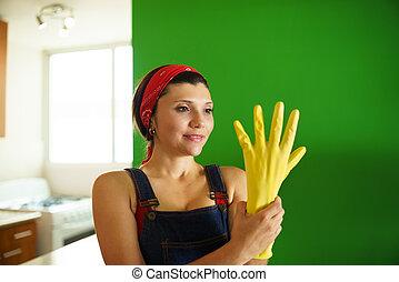 jovem, hispânico, mulher, com, amarela, látex,...