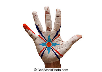 palm flag assyrian people - man hand palm painted flag of...