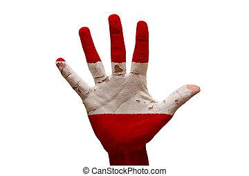 palm flag austria - man hand palm painted flag of austria