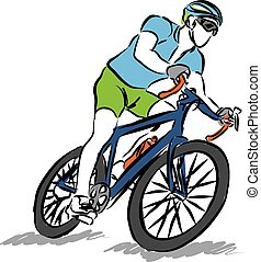 man riding a bike sport illustration