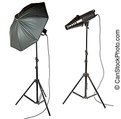 umbrella and snoot for photographer on the white background