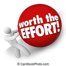 valor, el, esfuerzo, hombre, rodante, Pelota, cuesta arriba,...