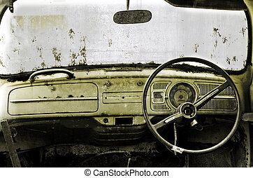 old car  - inside of an old car