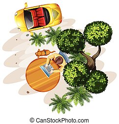 A topview of a table with a man, a tree and a vehicle on a...