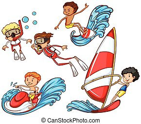 A group of people doing watersports - A drawing of a group...