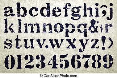 stencil - abc  .. stencil on old paper
