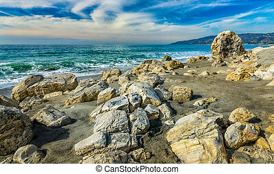 Rocks on Beach at Point Dume State Beach - Dramatic rocks on...