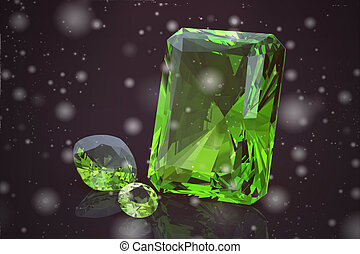 Peridot gem on black background high resolution 3D image