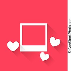 Blank photo frame with hearts for Valentine Day