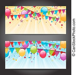 Abstract banners with colorful balloons, hanging flags and confe