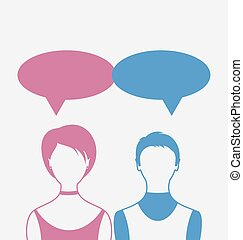 Man and woman with dialog speech bubbles, isolated on white back