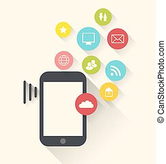 Smartphone device with applications (app) icons, modern flat