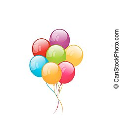 Bunch colorful balloons isolated on white background -...