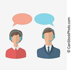 Flat icons of call center operators with man and woman...