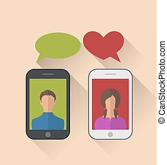 Two lovers communicating with the mobile phones, modern flat sty