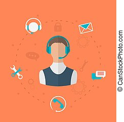Concept of 24h online available customer support, help desk...