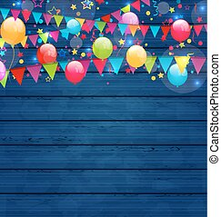Wooden holiday background with multicolored  balloons and hangin
