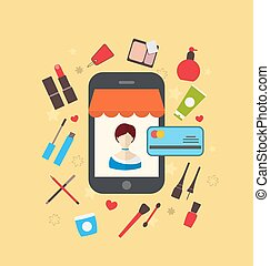 Woman buys cosmetic merchandises in online store. E-commerce...