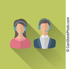 Icons of male and female avatars for operators call center...