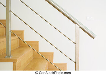 wood staircase interior in the modern house