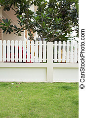 green grass lawn in the backyard with fence