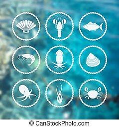 mariscos, iconos, Conjunto, en, mancha, Plano de fondo,